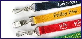 Article promotionnel, objet promotionnel, lanières personnalisées, cordon plat, cocardes, pochette pour badge