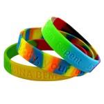 Bracelets en silicone personnalisé, bracelets multi couleur dé-bossé